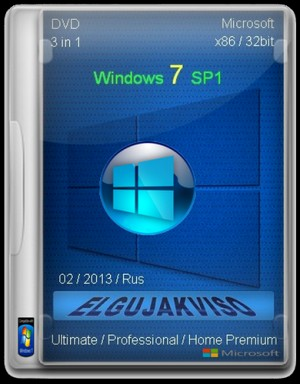 Windows 7 sp1 x86 3in1 elgujakviso edition 02.2013 (2013) русский